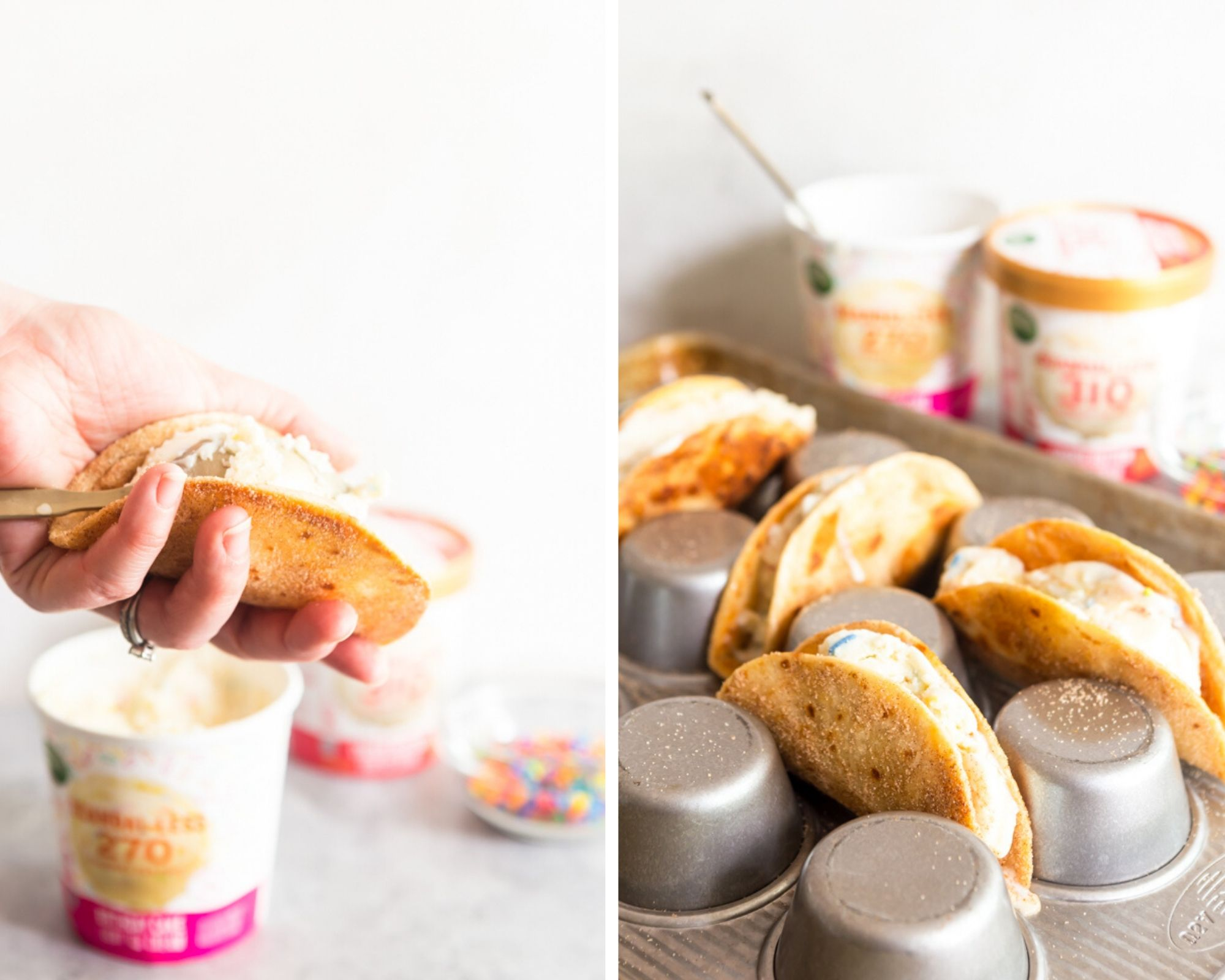 Collage image of filling tortilla with ice cream and ice cream tacos sitting in an upside down muffin tin.