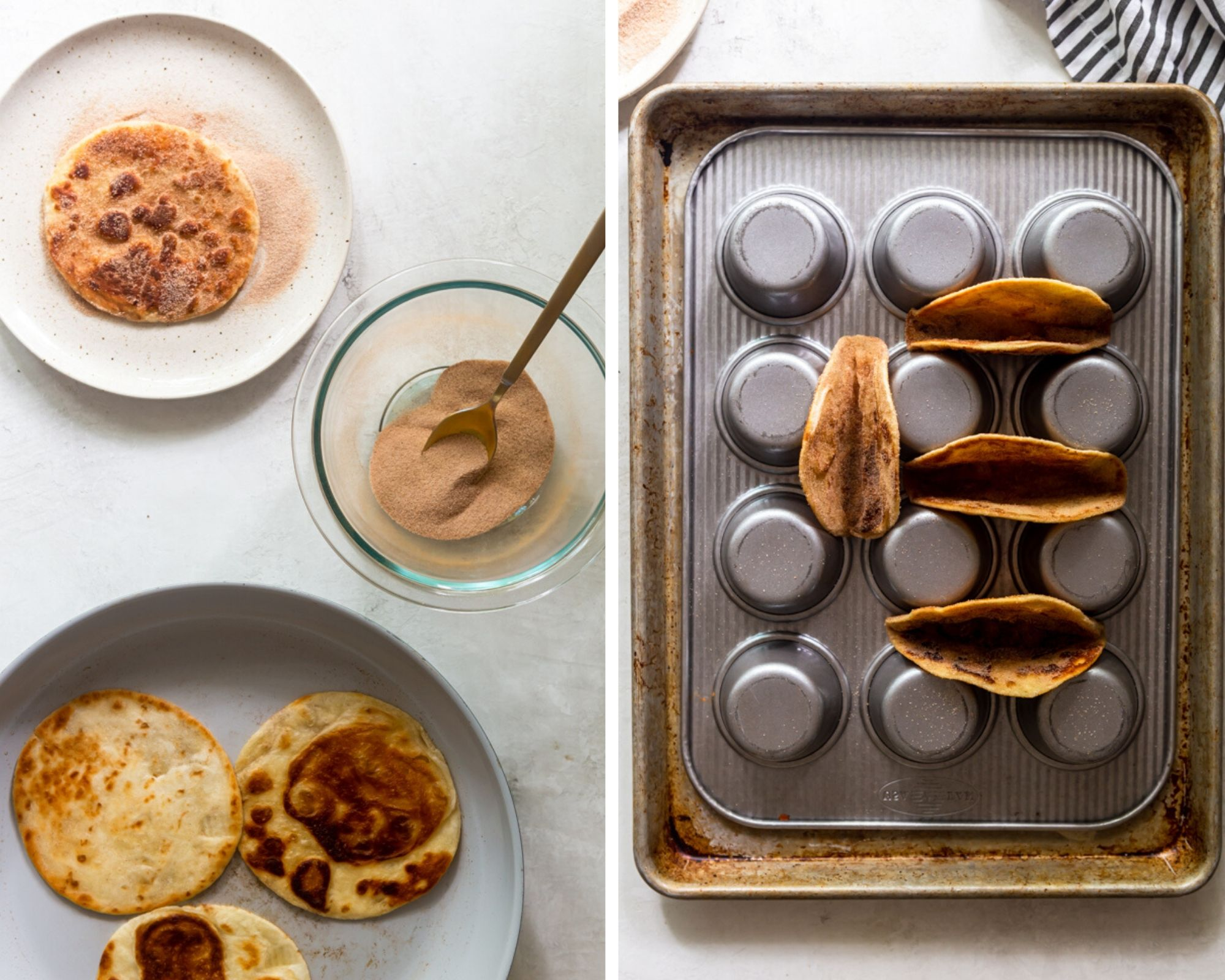 Collage image of tortillas being fried and coated in cinnamon sugar, and being shaped in muffin tin.