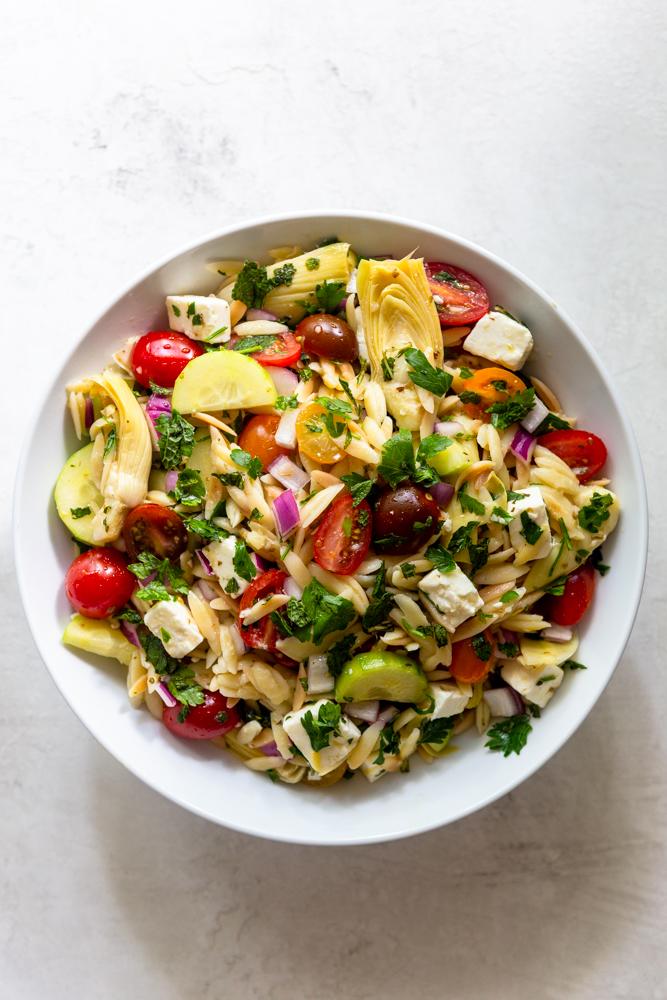 Mediterranean Pasta Salad in a white bowl
