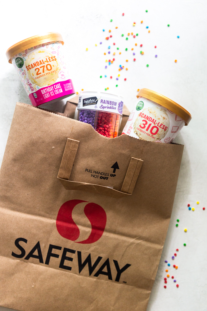 Ice Cream pints coming out of a Safeway bag