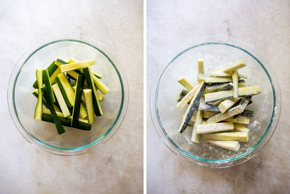 Zucchinistangen in einer Schüssel, vor und nach dem Werfen in Mehl