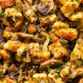 Mushroom Stuffing Recipe with Leeks
